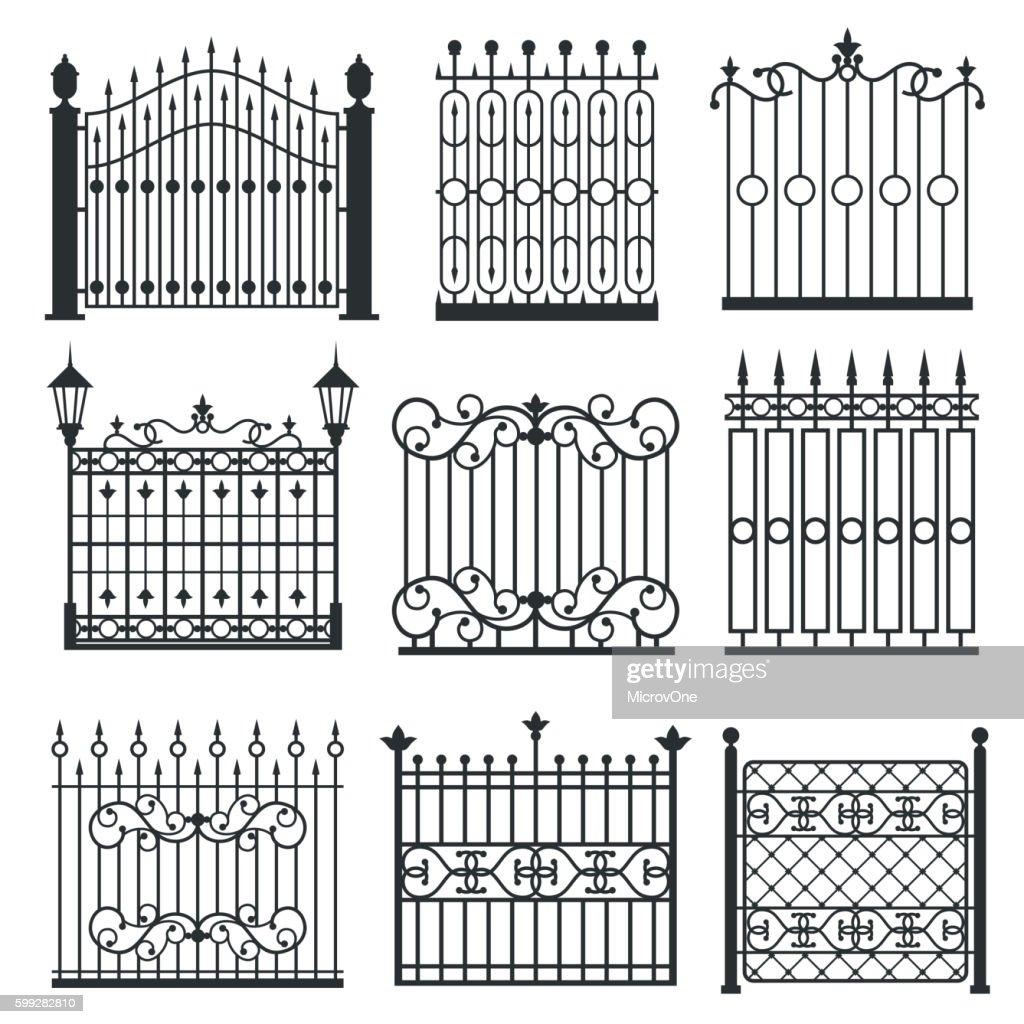 Metal iron gates, grilles, fences vector set
