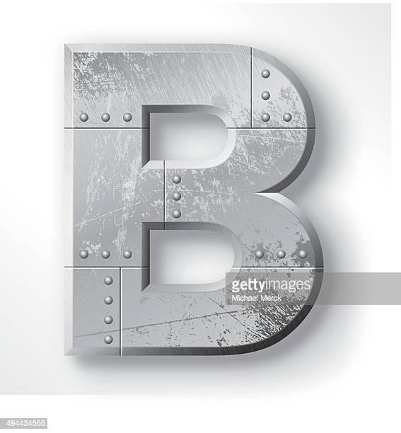stockillustraties, clipart, cartoons en iconen met metal letter b - nut bolt