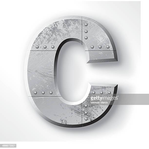 metal letter c - letter c stock illustrations, clip art, cartoons, & icons