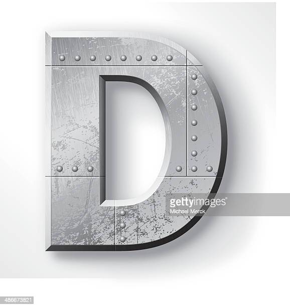metal letter d - letter d stock illustrations, clip art, cartoons, & icons