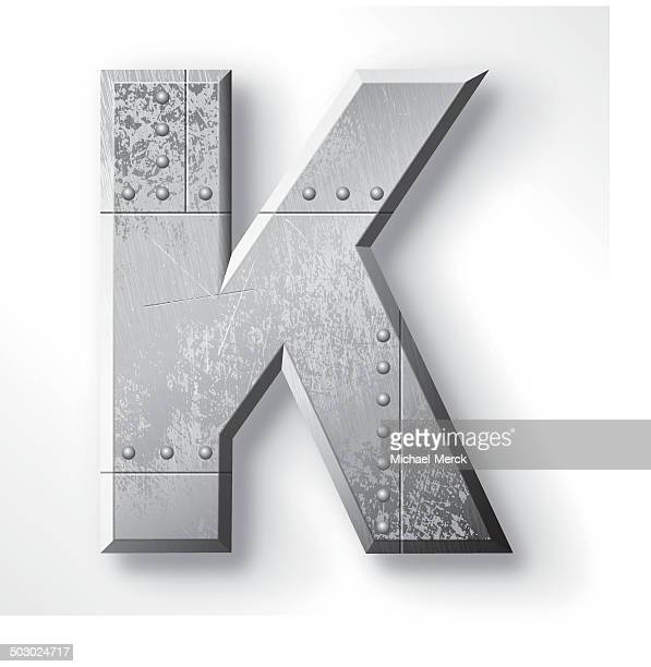 metal letter k - chrome stock illustrations, clip art, cartoons, & icons