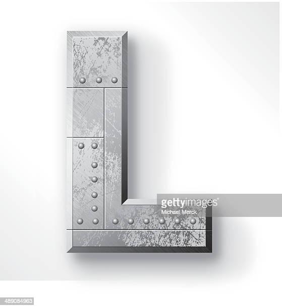 metal letter l - steel stock illustrations