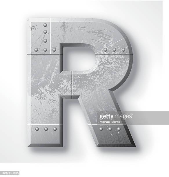metal letter r - chrome stock illustrations, clip art, cartoons, & icons