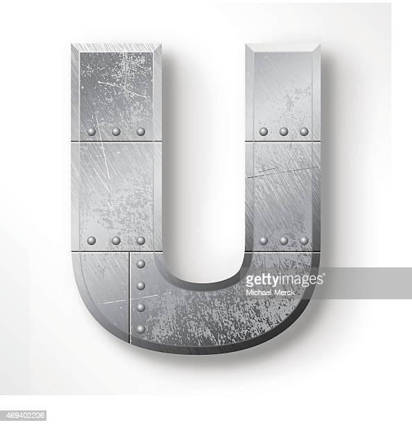 metal letter u - chrome stock illustrations, clip art, cartoons, & icons