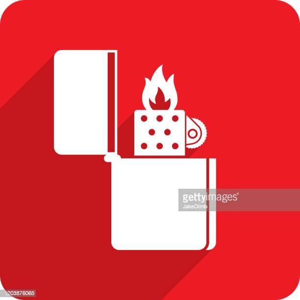 metal lighter icon silhouette - cigarette lighter stock illustrations