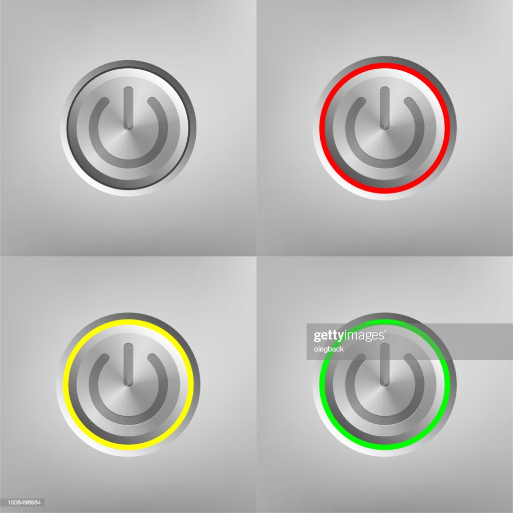 Metal On/Off button set isolated on gray background. Power symbol. Vector illustration.