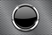 Metal perforated background with black round glass plate
