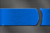 Metal perforated background with blue metal brushed plate
