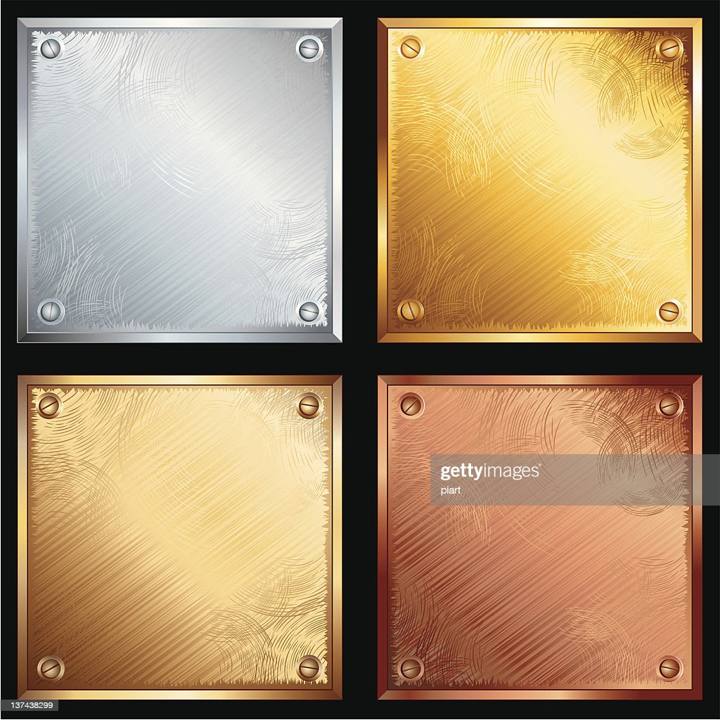 Metal plates in four different materials