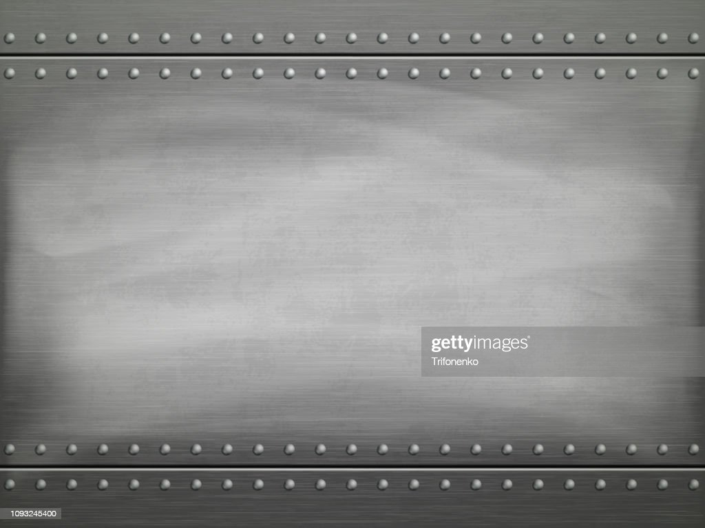 Metal polished plate with scratches. Vector background.
