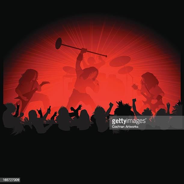 ilustraciones, imágenes clip art, dibujos animados e iconos de stock de rock metal en etapa - puntear un instrumento