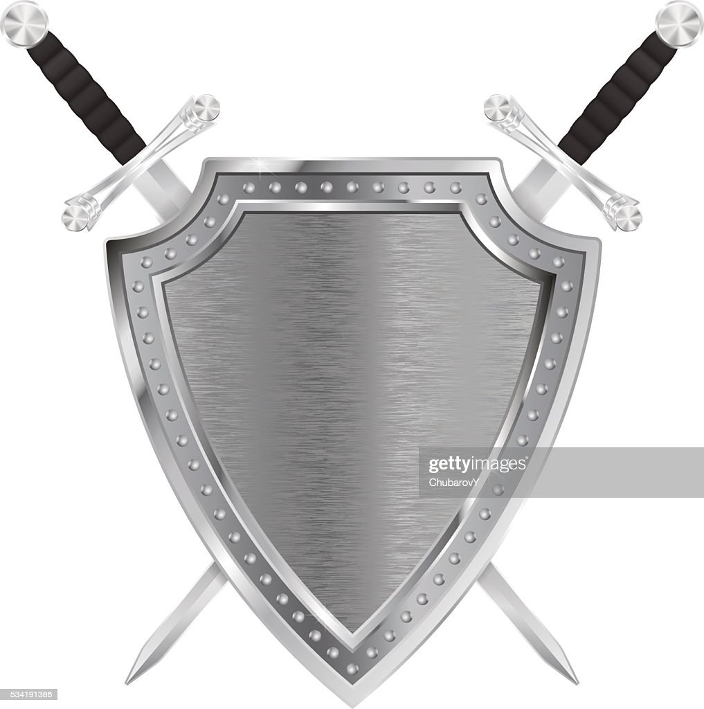 Metal shield with crossed swords