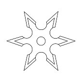 Metal shuriken icon outline. Single weapon icon from the big ammunition, arms set.