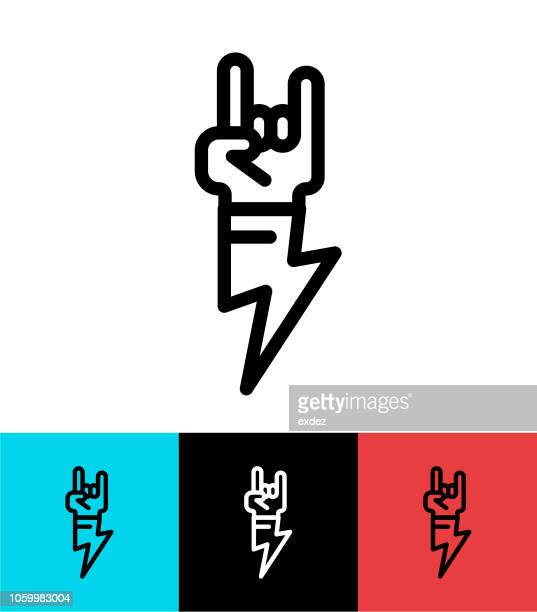 metal sign hand with thunder icon - lightning stock illustrations