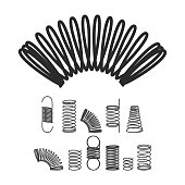 Metal Spiral Flexible Wire Elastic Spring. Vector Isolated Icon Set