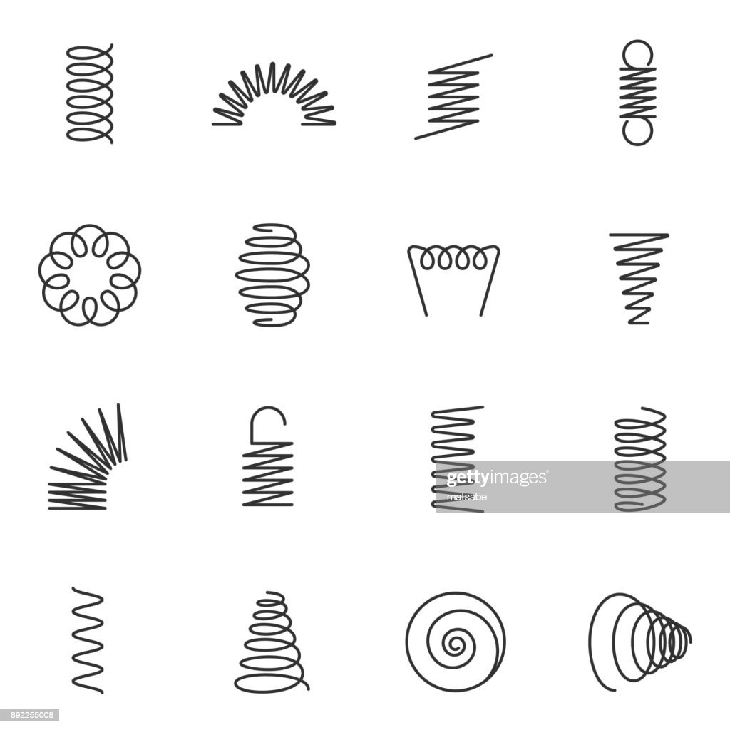Metal springs icons set. Line with Editable stroke