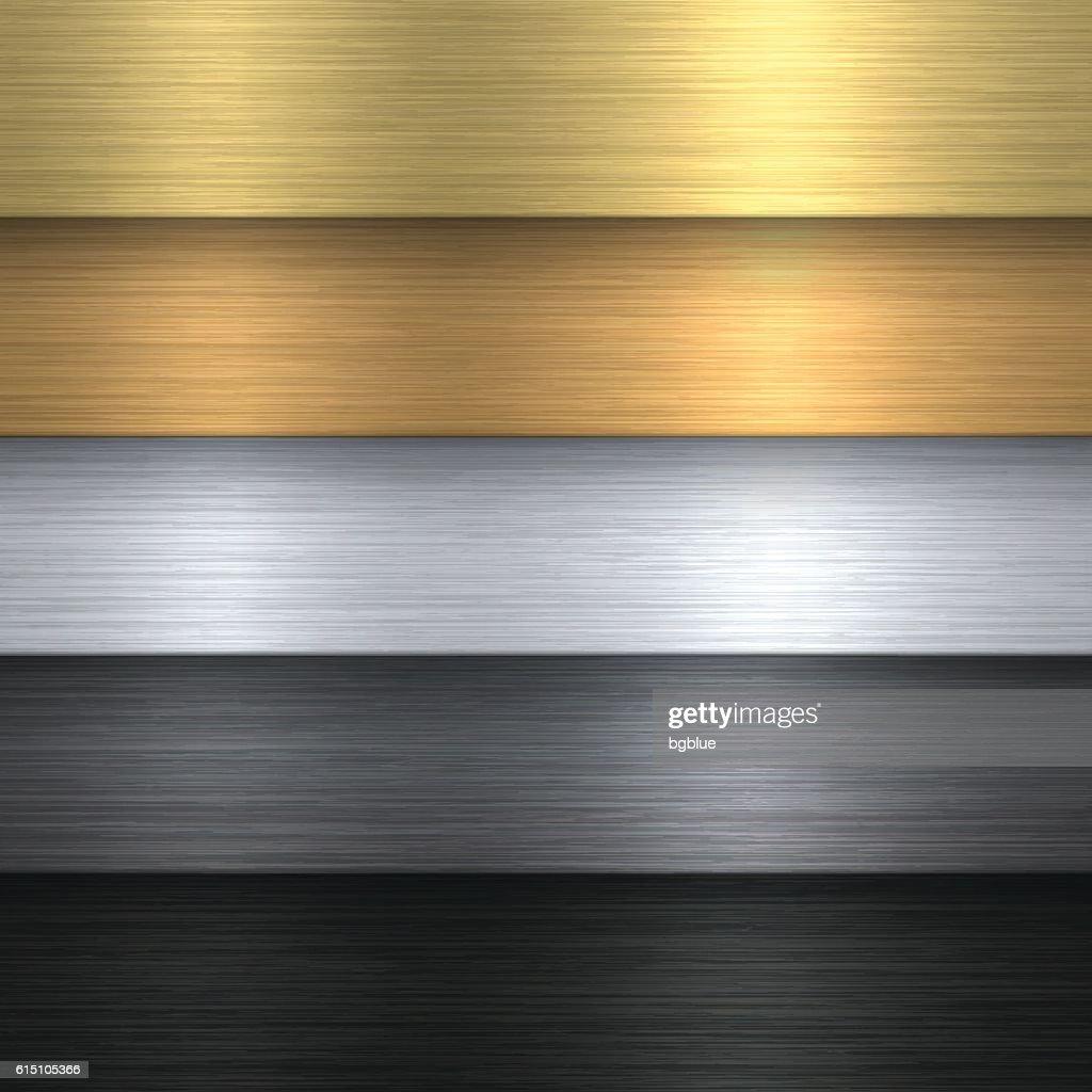 Metal Texture Set - Metallic Background : Stock Illustration