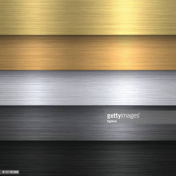 metal texture set - metallic background - silver metal stock illustrations