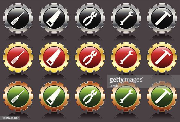 metal tool icons - serrated stock illustrations, clip art, cartoons, & icons