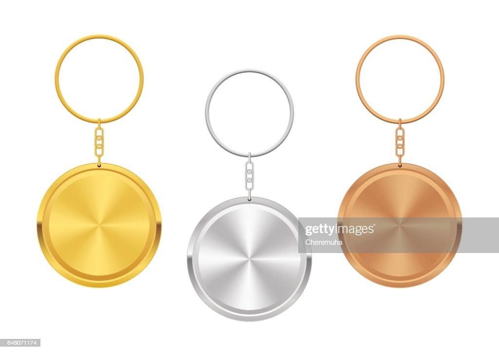 Metal Trinket, Keychain. Set of Gold, Silver, Bronze Keyholder.