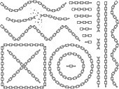 Metal vector chains isolated. Chrome chain icons and brushes set