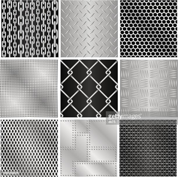 ilustrações, clipart, desenhos animados e ícones de 9 texturas de metal (sem costura - skidding