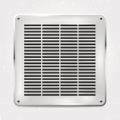 Metal ventilation grille on the wall