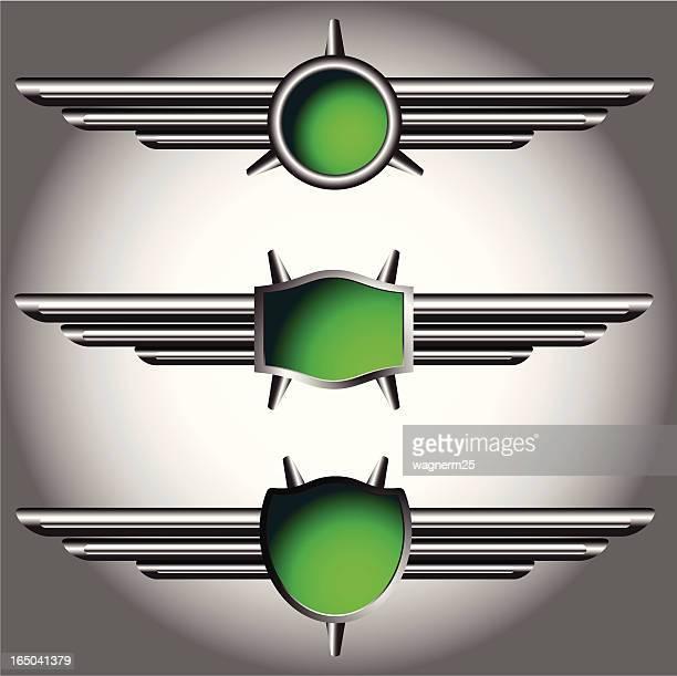 metalic wings logo - legal document stock illustrations, clip art, cartoons, & icons