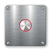 Metallic button on square plate.