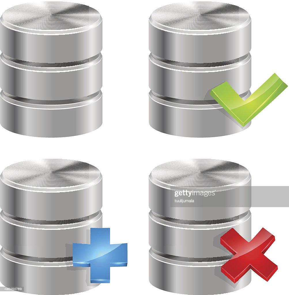 Metallic database icons