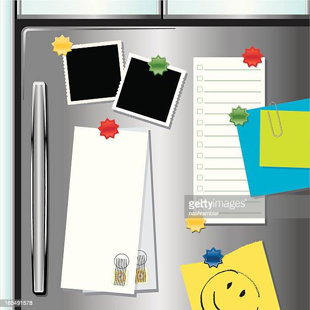 metallic fridge with magnets - to do list stock illustrations