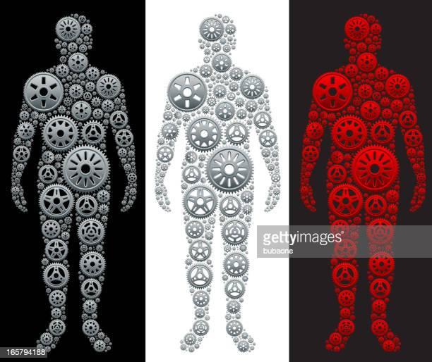 ilustrações, clipart, desenhos animados e ícones de metallic gears em forma de pessoa - perna humana