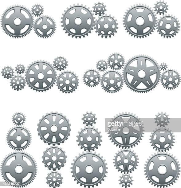 メタリックのギアロイヤリティフリーのベクターアイコンセットのインタフェース - クランクセット点のイラスト素材/クリップアート素材/マンガ素材/アイコン素材