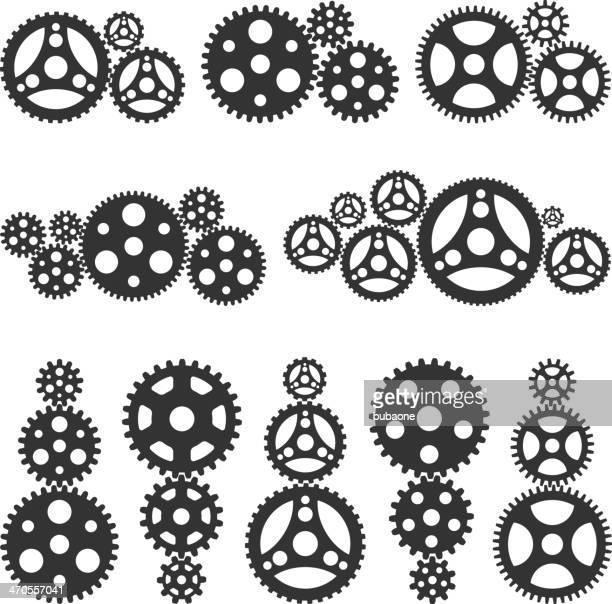 メタリック gearsblack &ホワイトのベクトルのアイコンセットのインタフェース - クランクセット点のイラスト素材/クリップアート素材/マンガ素材/アイコン素材