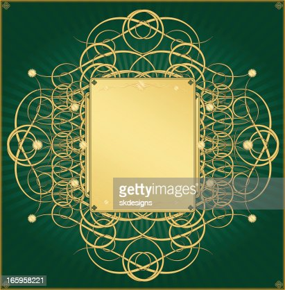 Metallic Gold And Emerald Green Background Design High Res