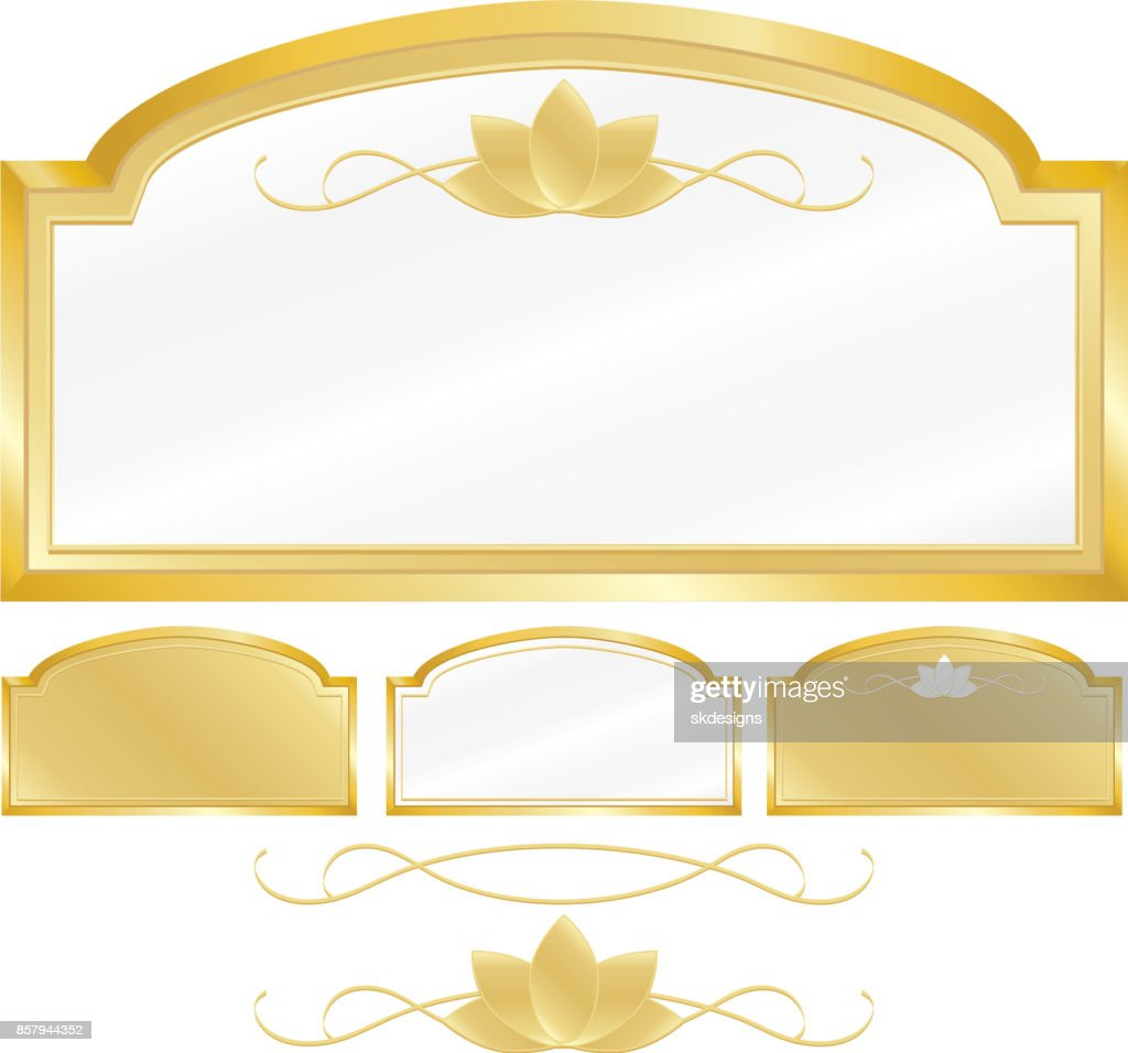 Metallic Gold Or White Signs Plaques Design Element Sets With