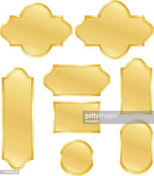 metallic gold signs, emblems, icons design elements set - memorial plaque stock illustrations, clip art, cartoons, & icons