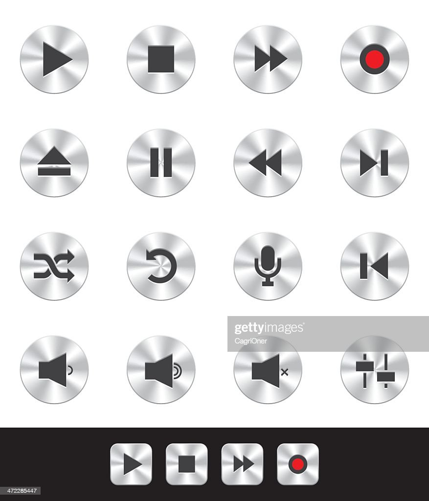 Metallic Icons: Music Player Buttons