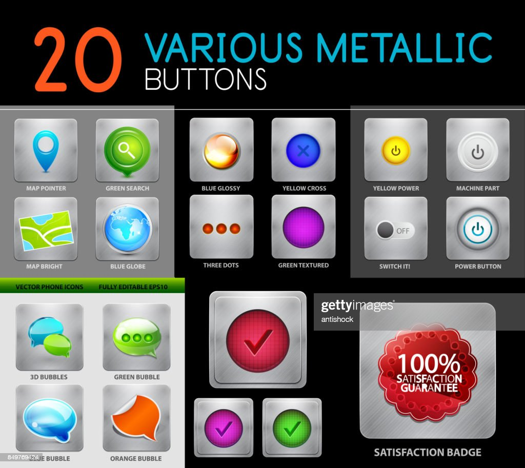 Metallic polish web internet buttons set