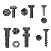 metallic screw set isolated on white background.