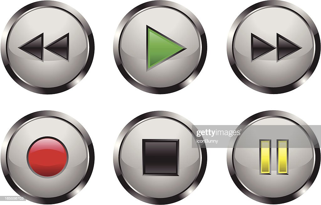 Metallic Shiny Media Player Buttons