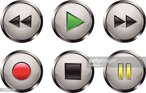 Metallic Shiny Media Player Buttons