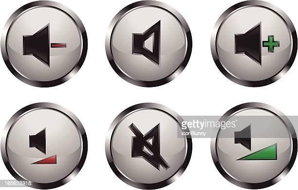 metallic shiny media player buttons - deterioration stock illustrations, clip art, cartoons, & icons