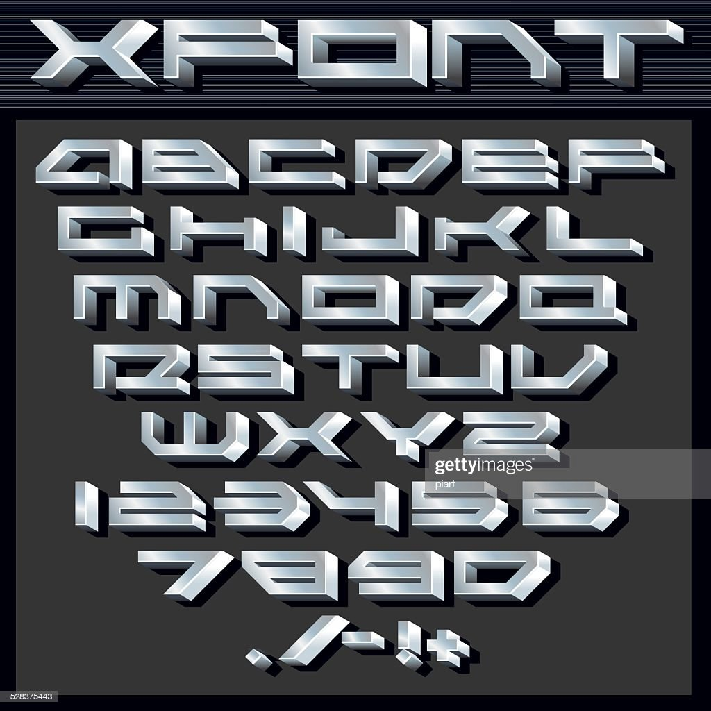 Metallic Silver Alphabet and Numbers