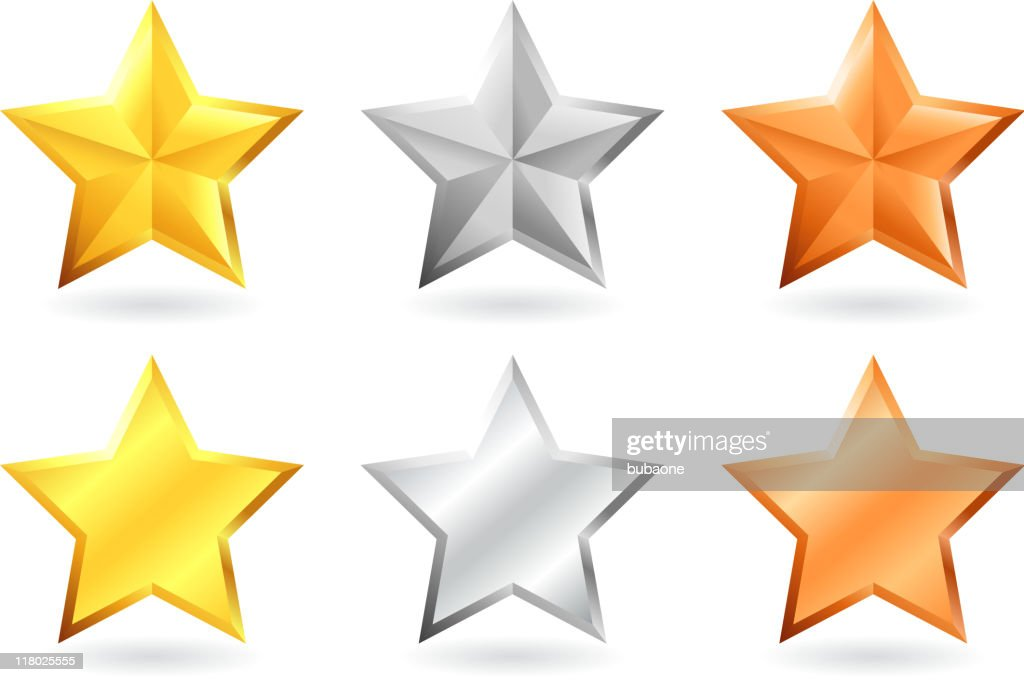 metallic star designs in gold silver and bronze