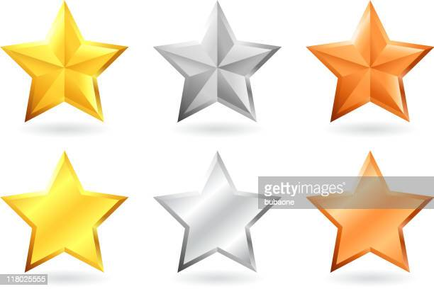 metallic star designs in gold silver and bronze - silver metal stock illustrations