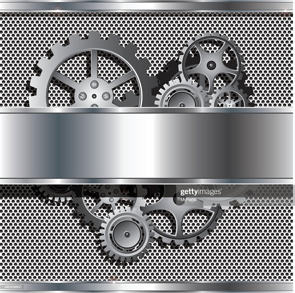 Metallic texture and stainless steel with cog gears
