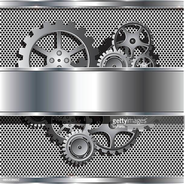 metallic texture and stainless steel with cog gears - metal industry stock illustrations