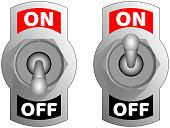 Metallic toggle switcher. Realistic switcher design. Vector chrome toggle switcher.
