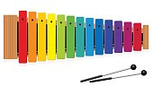 Metallophone or Glockenspiel with thirteen rainbow colored bars and two percussion mallets - top view - isolated vector illustration on white background.